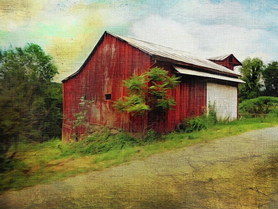 Barn Digital Art - Red Barn by Krista Droop