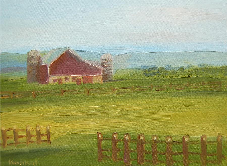 Lisa Painting - Red Barn by Lisa Konkol