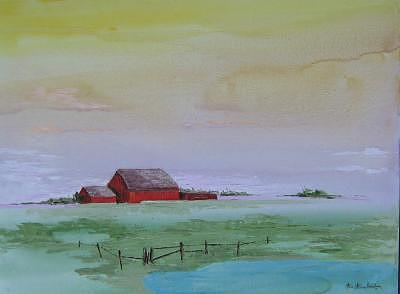 Painting Painting - Red Barn Skyline by Stan  Sternbach