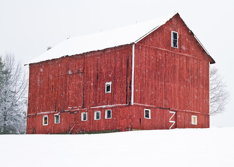 Red Barn Photograph - Red Barn Snow Storm  by Tim Fitzwater