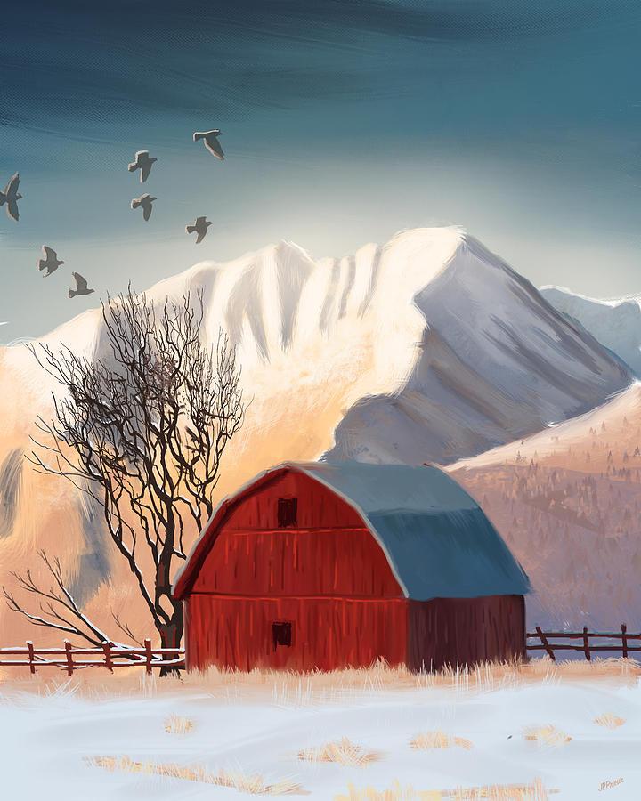 Western Digital Art - Red Barn Snow Western - Countryside Painting by Jean-Pierre Prieur