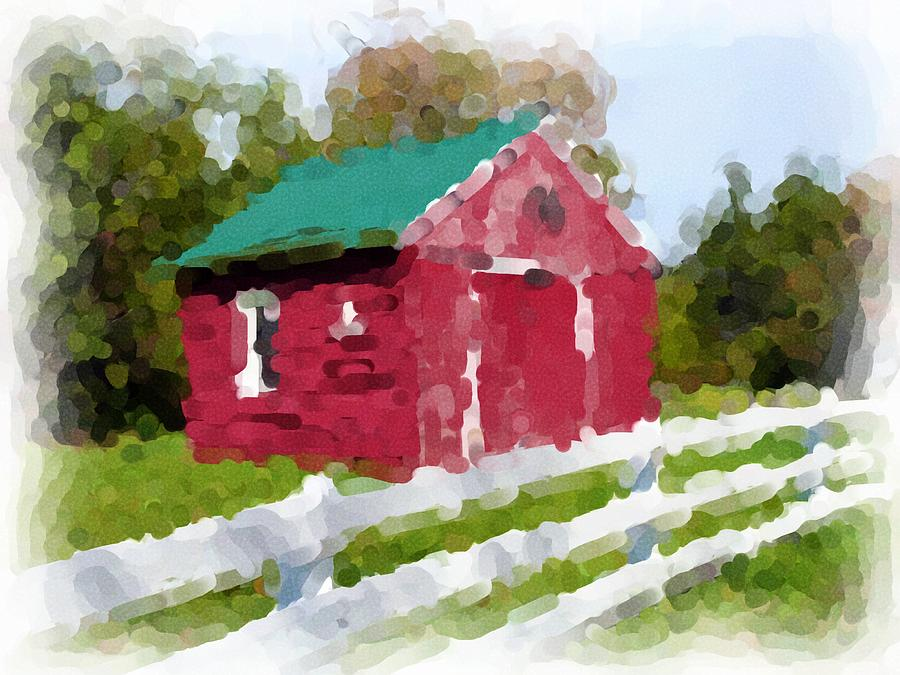Barn Photograph - Red Barn Vermont Watercolor by Ralph Liebstein