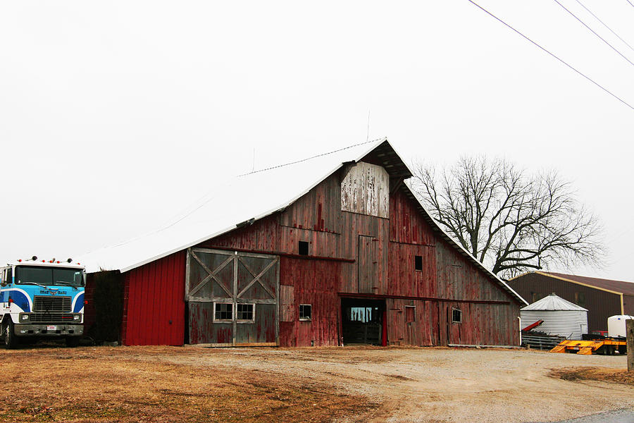 Barn Photograph - Red Barn W Blue Truck 2 by Mike Loudermilk