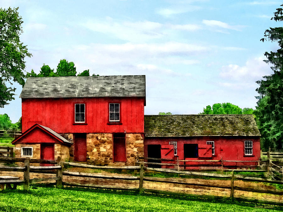 Rural Photograph - Red Barn With Fence by Susan Savad