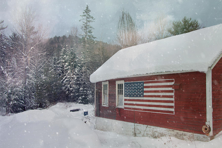 Red Barn with US Flag - Americana by Joann Vitali