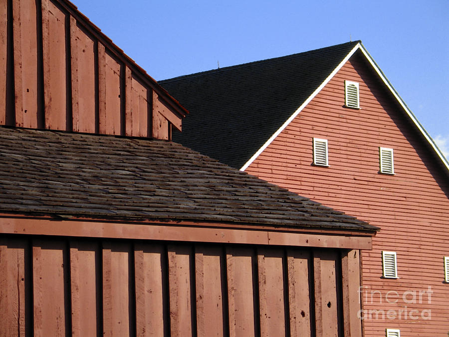 Barn Digital Art - Red Barns And Blue Sky With Digital Effects by William Kuta