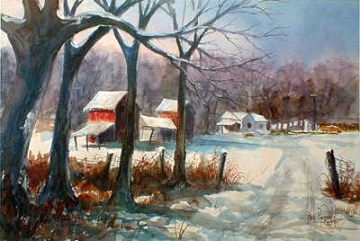 Farmland Painting - Red Barns In Snow - Watercolor by Bob Pittman