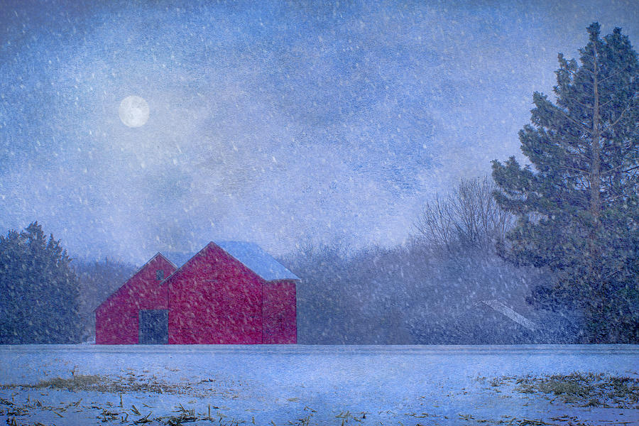 Red Barns Photograph - Red Barns In The Moonlight by Nikolyn McDonald