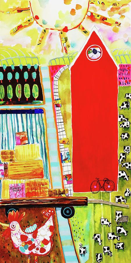 Red Barn Painting - Red Barnyard by Deborah Burow