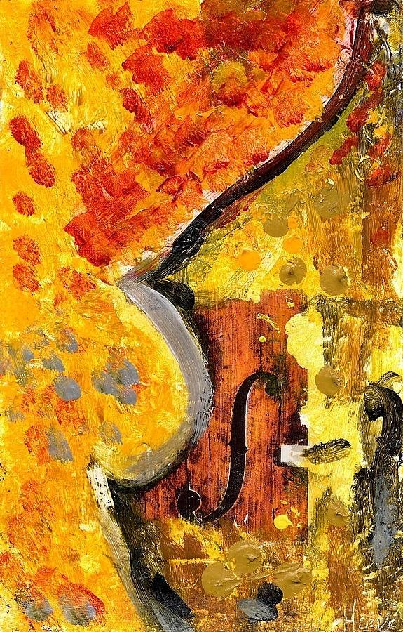 Double Bass Painting - Red Bass by Eric HERVE