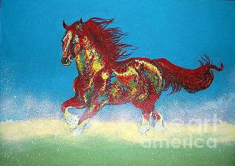 Horse Painting - Red Beauty by Mahtab Davoud