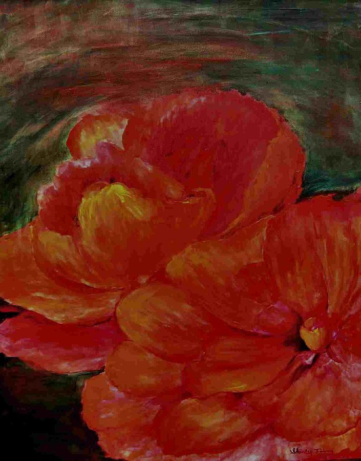 Flowers Painting - Red Begonia by Shirley Fearn