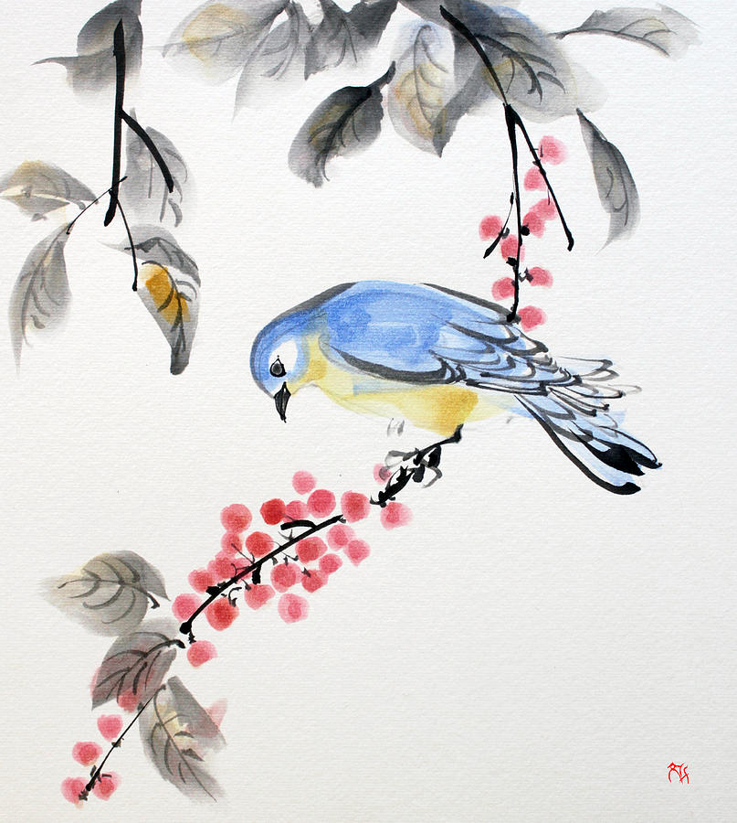 Red Berries Blue Bird by Fumiyo Yoshikawa