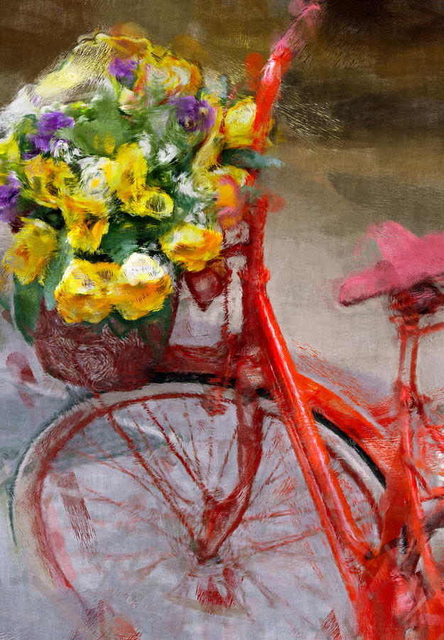 Antique Photograph - Red Bicycle Painting by Vaidas Bucys