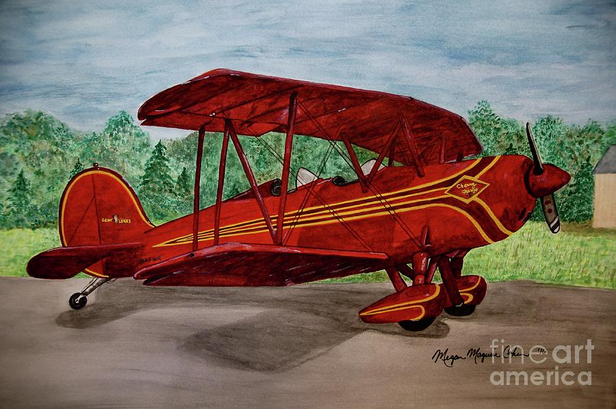 Biplane Painting - Red Biplane by Megan Cohen