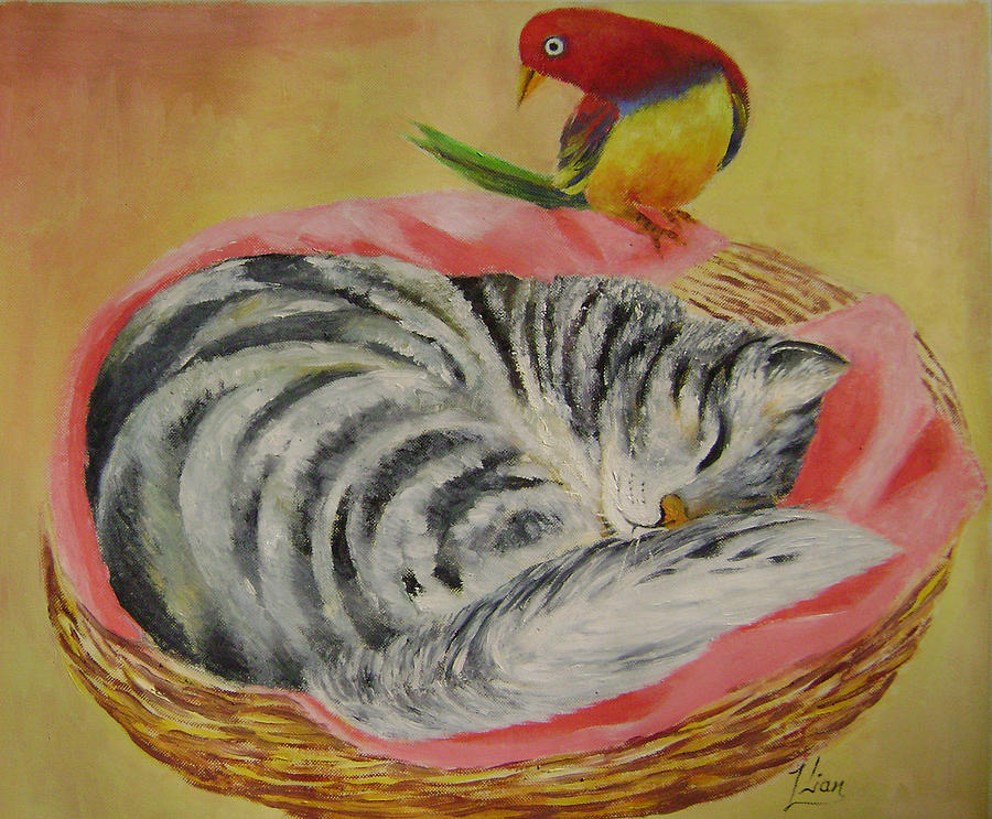 Naive Painting - Red Bird by Lian Zhen