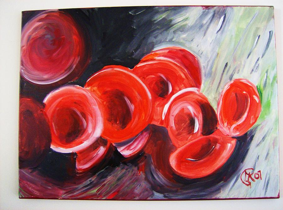 Blood Painting - Red Blood Cells by Michaela Gilt