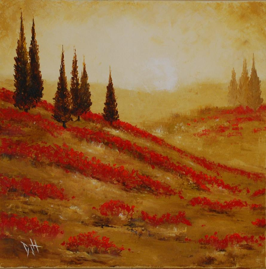 Trees Painting - Red Blooms At Dawn by Debra Houston