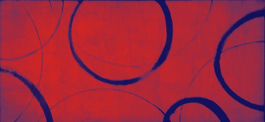 Red Painting - Red Blue Ensos by Julie Niemela