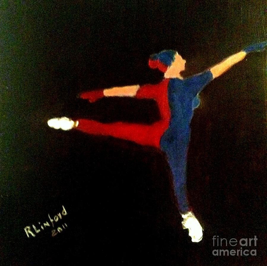 Paris Opera Ballet Painting - Red Blue White Ballet Dancer by Richard W Linford