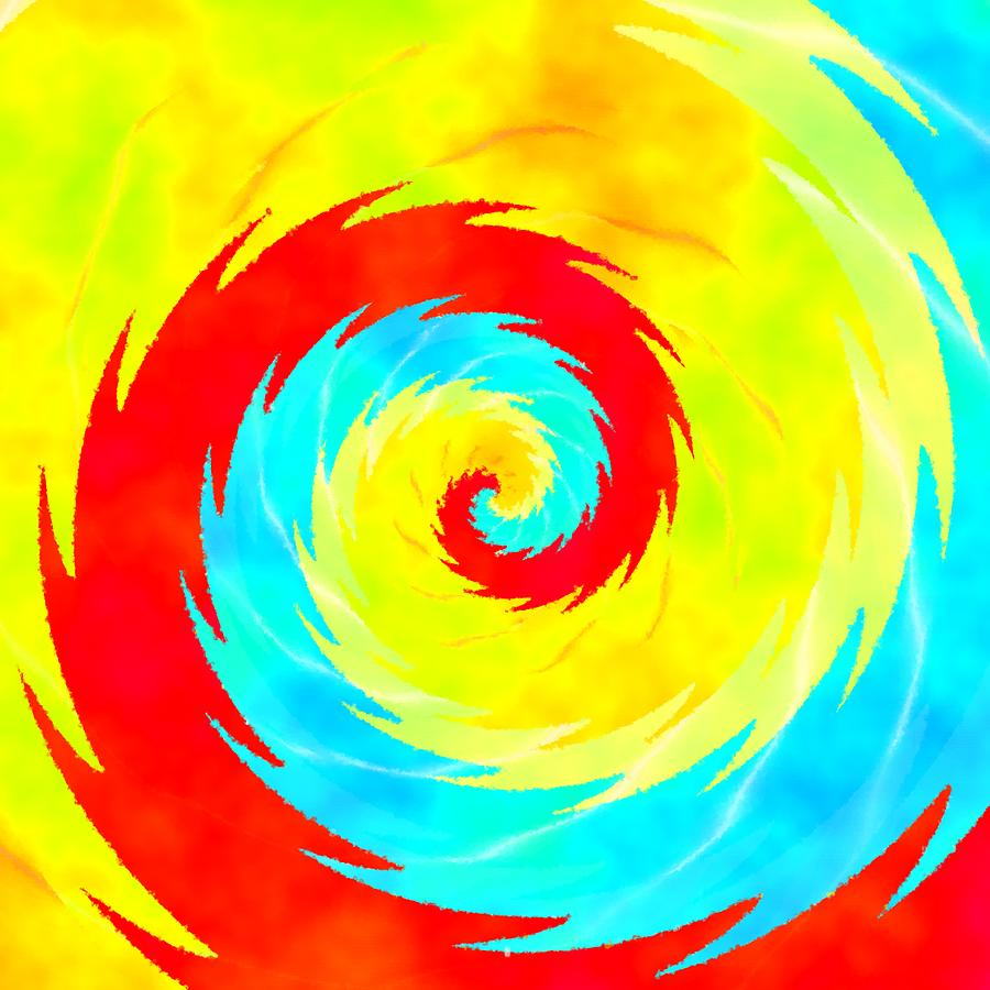 Red Blue Yellow Swirl Digital Art by Lenka Rottova