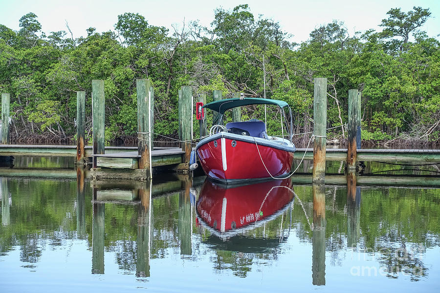 Boat Photograph - Red Boat Docked Florida by Edward Fielding