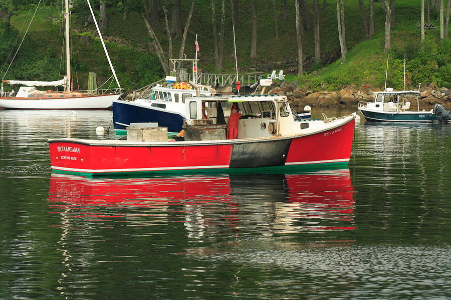 Seascape Photograph - Red Boat by Doug Mills