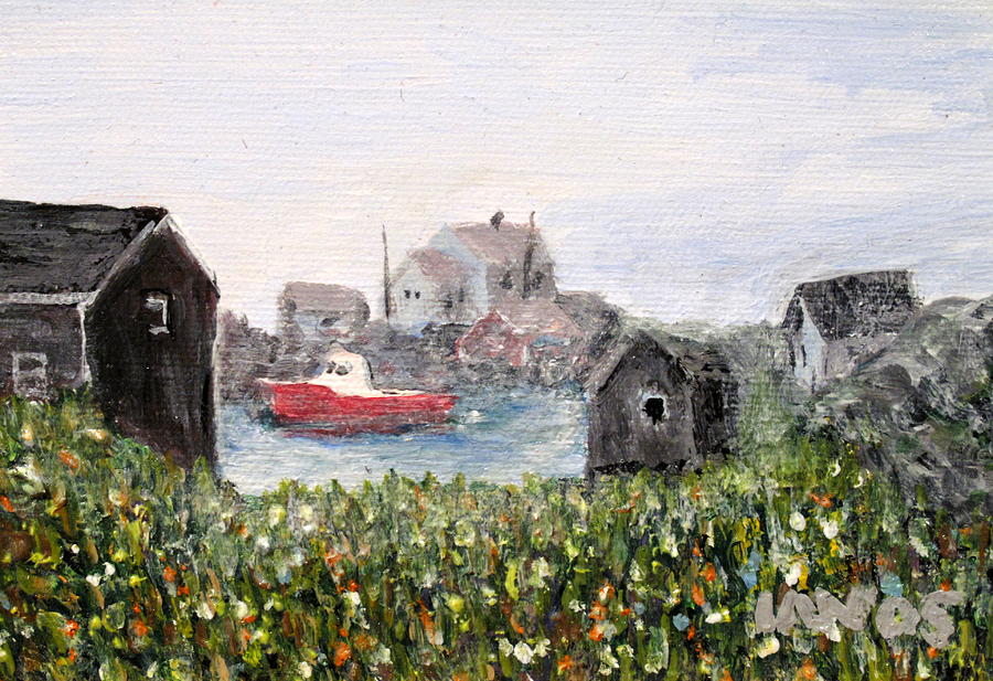 Red Boat Painting - Red Boat in Peggys Cove Nova Scotia  by Ian  MacDonald