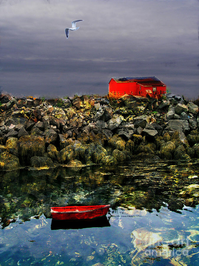 Boat Digital Art - Red Boat by Olga K