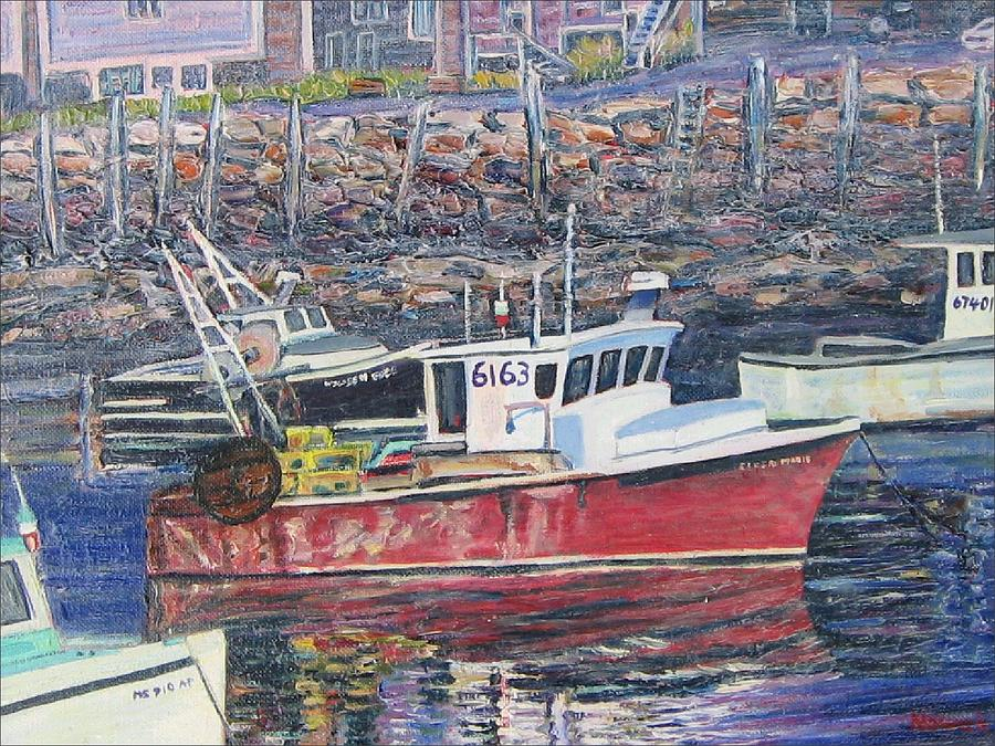 Boat Painting - Red Boat Reflections by Richard Nowak
