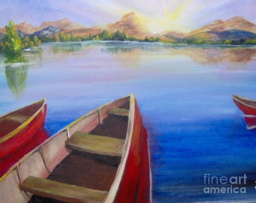 Landscape Painting - Red Boats at Sunrise by Saundra Johnson