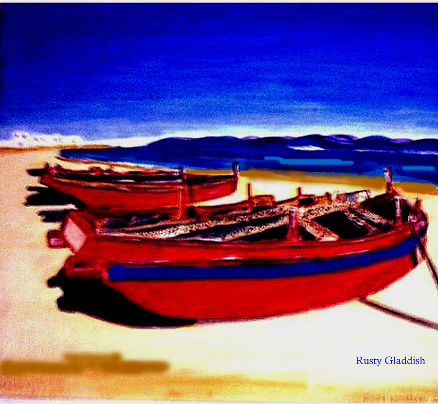 Boats Painting - Red Boats by Rusty Gladdish