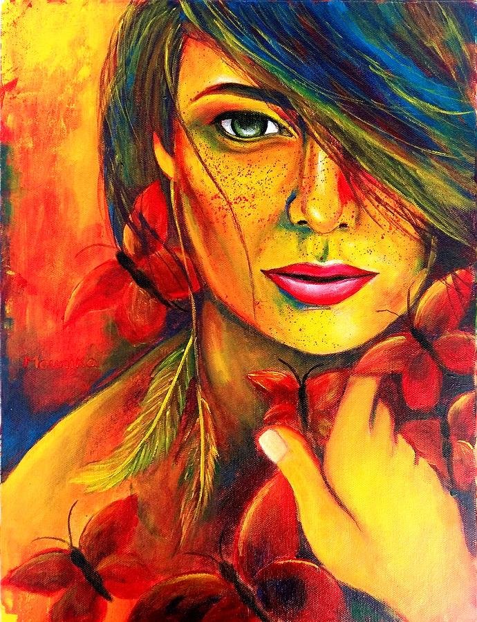 Red Bold Lady With Butterflies Original Contemporary Vibrant Painting