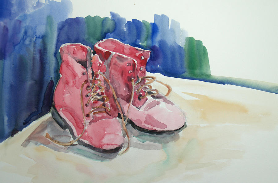 Watercolor Painting - Red Boots by Becky Kim