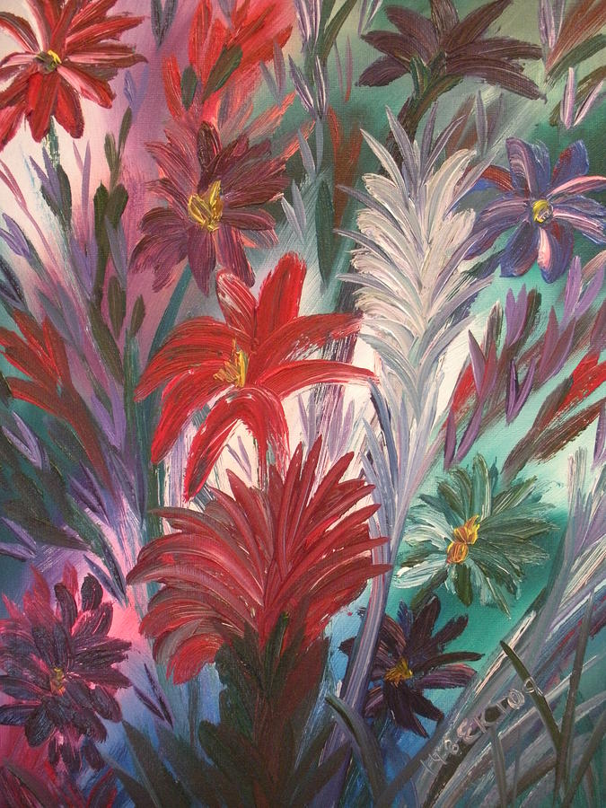 Abstract Painting - Red Bottle Brush Flowers by Elizabeth AAThompson