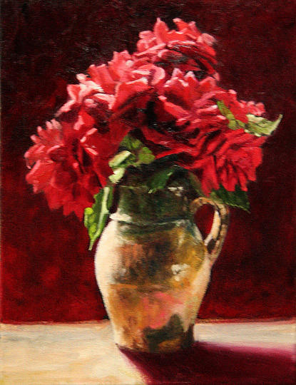 Floral Painting - Red Bouquet by Michael Lynn Adams