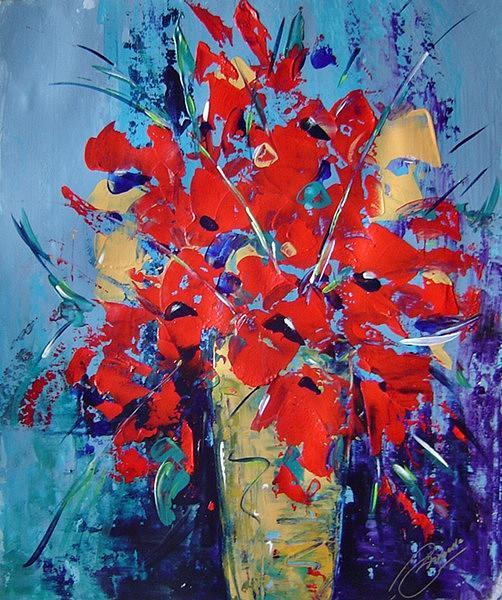 Flowers Painting - Red by Bridgette  Allan