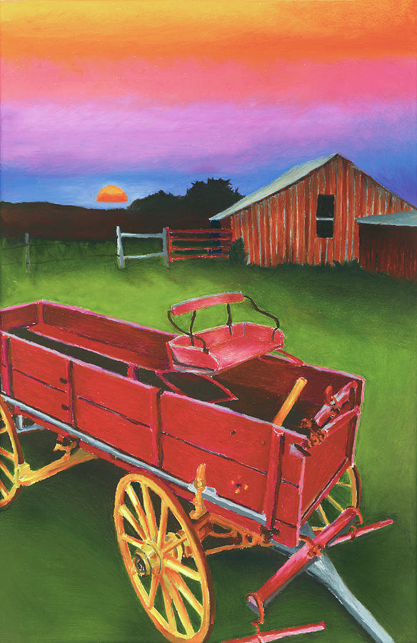 Texas Scenery Painting - Red Buckboard Wagon by Stephen Anderson