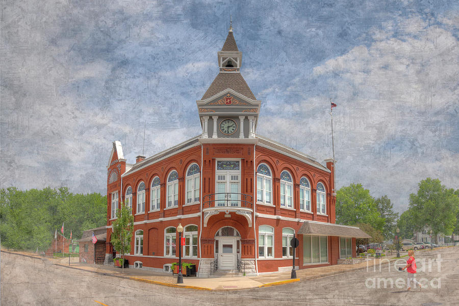 Hdr Photograph - Red Bud City Hall by Larry Braun