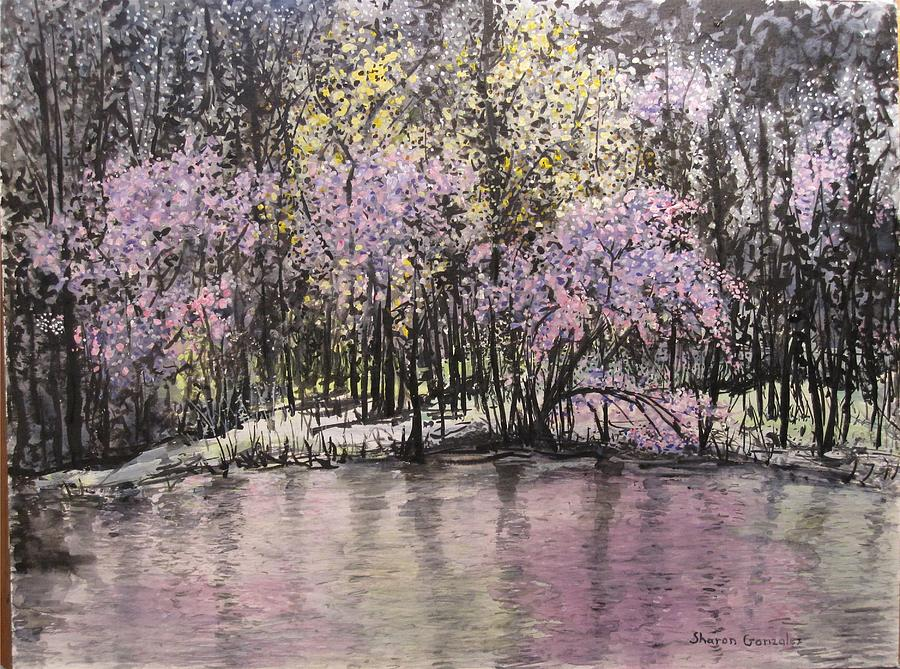 Pond Painting - Red Buds by Sharon  De Vore