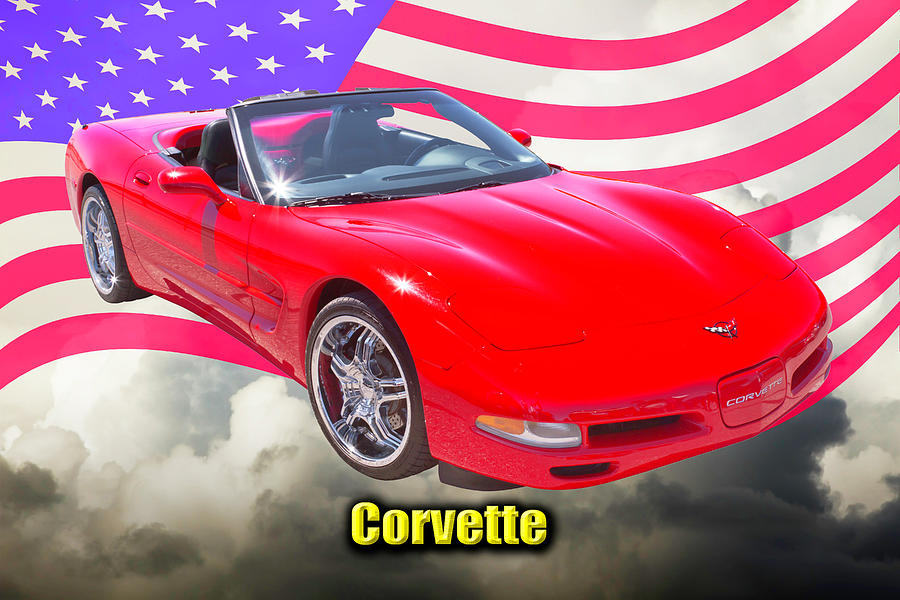 Red C5 Corvette Convertible And American Flag Photograph
