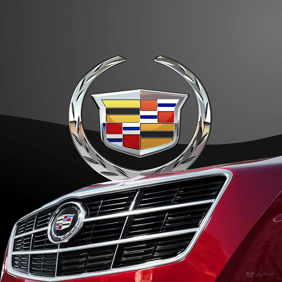 Car Photograph - Red Cadillac C T S - Front Grill Ornament and 3D Badge on Black by Serge Averbukh