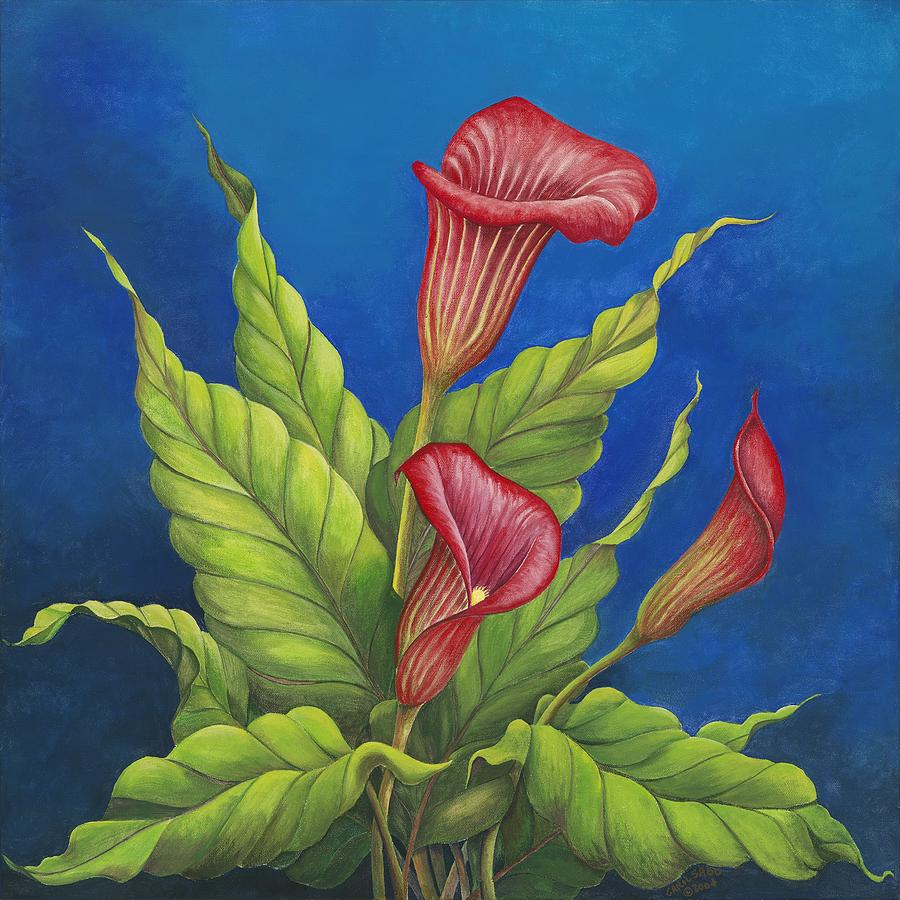 Flowers Painting - Red Calla Lillies by Carol Sabo