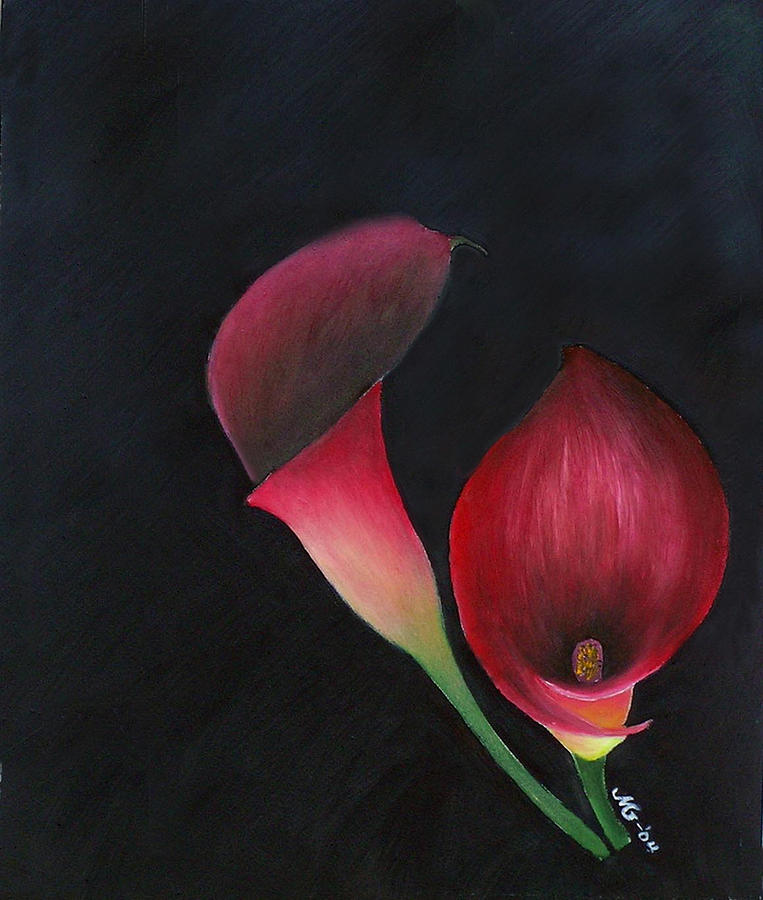 Oil Painting - Red Calla Lillies by Mary Gaines
