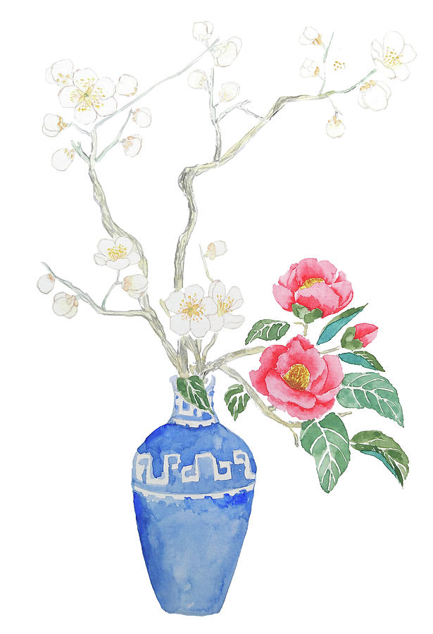 Red Camellia Flower Painting - Red Camellia Flower And White Plum Flower In Blue Vase by Color Color