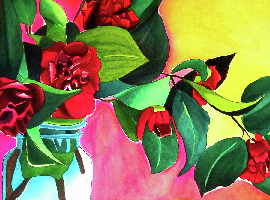 Camellias Painting - Red Camellias with green by Sacha Grossel