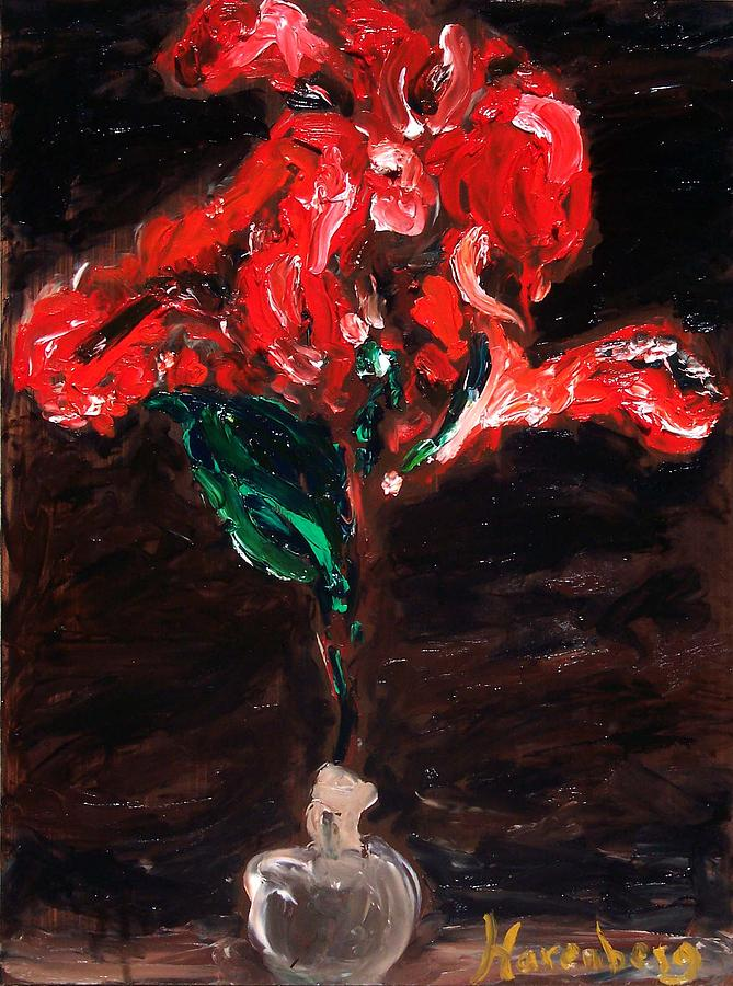 Still Life Painting - Red Canna Lily by R Harenberg