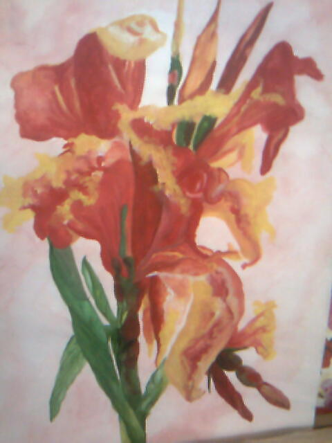 Garden Flower Painting - Red Canna  by Seema Sharma