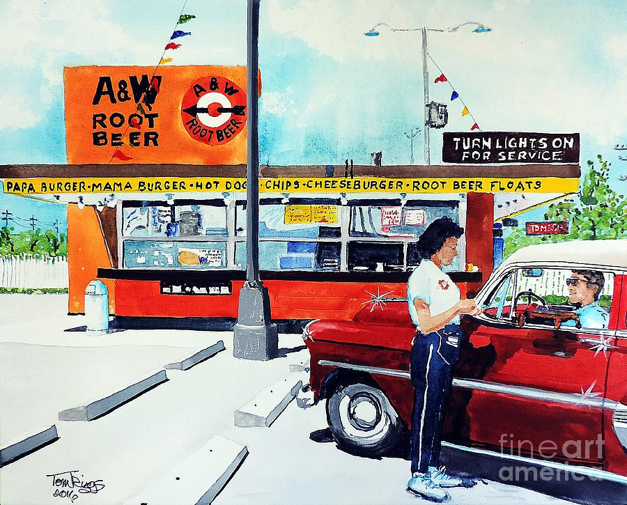 Nostalgia Painting - Red Car At The A And W by Tom Riggs