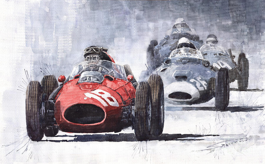 Auto Painting - Red Car Ferrari D426 1958 Monza Phill Hill by Yuriy Shevchuk